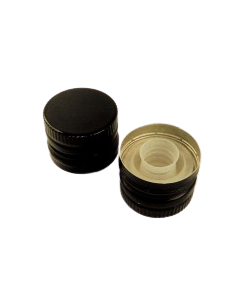 Capac aluminiu prefiletat D31.5*24 mm negru cu picurator, cod DC20 negru